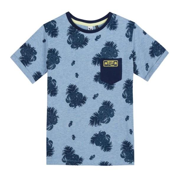 Μπλούζα μακό μπλε σιέλ με σχεδία αγόρι 3Pommes