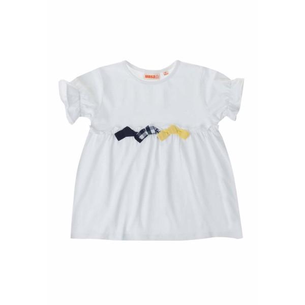 Μπλούζα μακό λευκή με φιόγκο κορίτσι ubs2