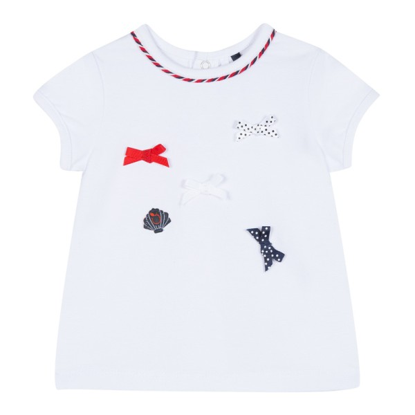 Μπλούζα μακό άσπρη με μπλε και κόκκινα φιογκάκια κορίτσι 3pommes