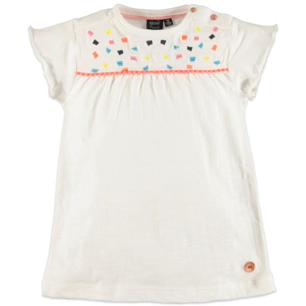 Μπλούζα μακό λευκό χρώμα με κέντημα κοντό μανίκι κορίτσι Babyface