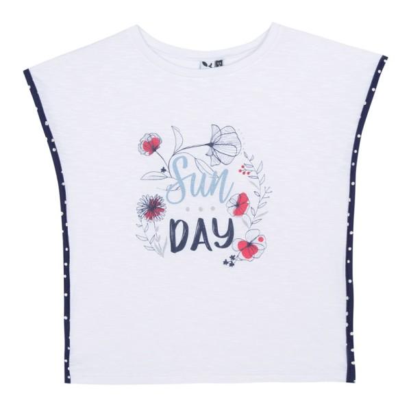 Μπλούζα μακό άσπρη με μπλε και κόκκινα λουλουδια κορίτσι 3pommes