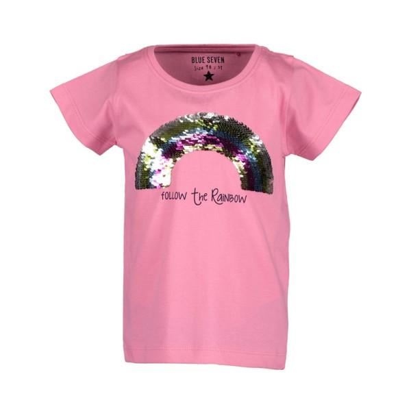 Μπλούζα μακό ροζ με στρας κοντό μανίκι κορίτσι Blue seven