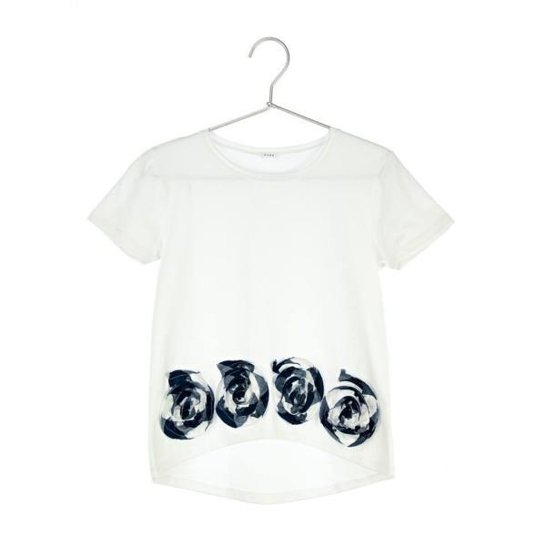 Πουκάμισα λευκή με μπλε χειροποίητα λουλούδια κορίτσι daniele