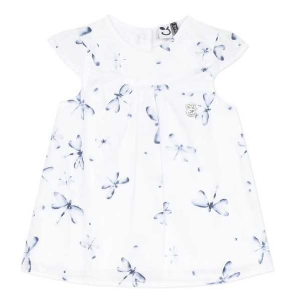 Πουκαμισά υφασματινη φλοραλ μπλε λευκό σιέλ κορίτσι 3pommes
