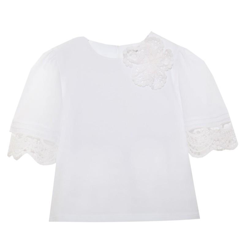 Πουκάμισα υφασματινη λευκή κοντό μανίκι με σχέδιο κοφτό κέντημα κορίτσι Patachou