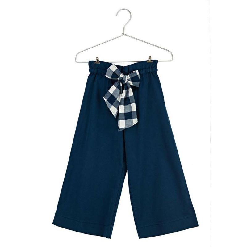 Παντελόνι ζιπ κιλοτ υφασματινο μπλε με ζώνη καρό κορίτσι daniele