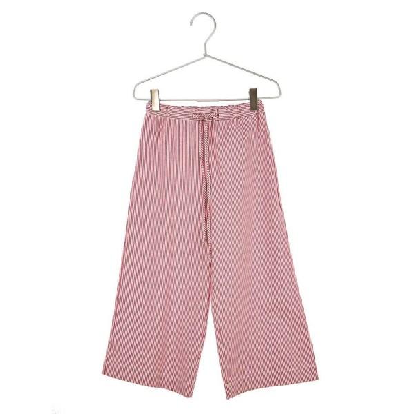 Παντελόνι υφασμάτινο ζιπ κιλοτ ριγέ ροζ λευκό κορίτσι daniele