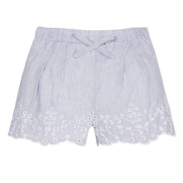 Παντελόνι σορτς υφασματινο με κέντημα στο τελείωμα σιέλ λευκό κορίτσι 3pommes