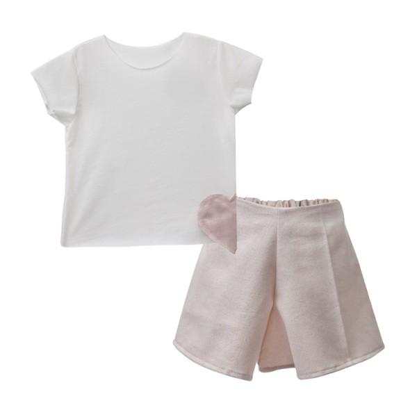 Σετ  μπλούζα σορτσάκι εκρου ροζ   και παντανα κορίτσι βιολογικό βαμβάκι Two in a castel