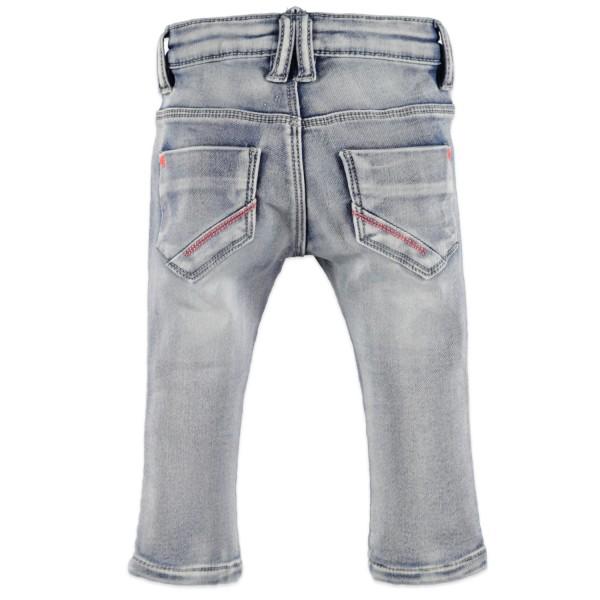 Παντελόνι τζιν μαλακό βαμβακερό ανοιχτό χρώμα με ριγα μπλε ασημή τσέπες φερμουάρ κορίτσι Babyface