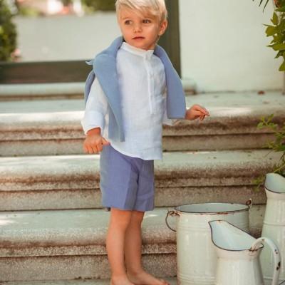 Σετ πουκάμισο παντελόνι ληνό λευκό σιέλ αγόρι martin aranda μπεζ λευκό