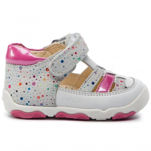 Παπουτσo πέδιλο κλειστό με αυτοκόλλητο λευκό με πουά ροζ  κορίτσι ανατομικό Geox