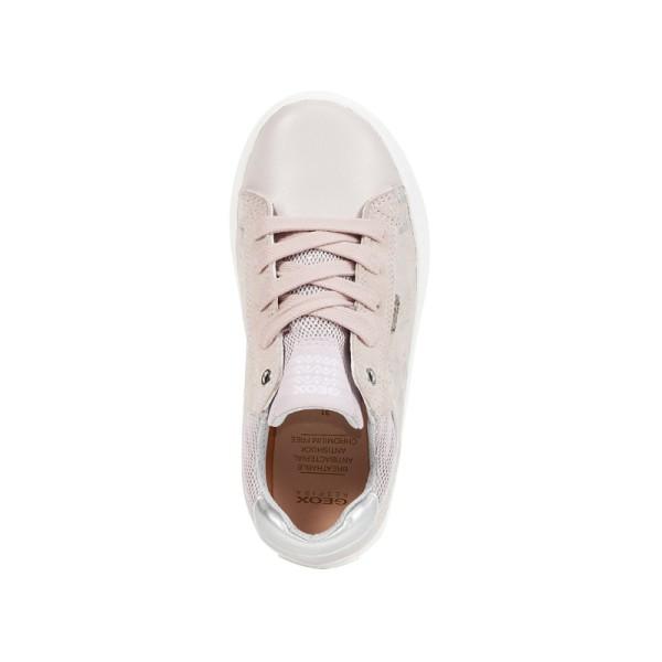 Παπούτσι κοριτσιού κλειστό με κορδόνια ροζ απαλό ασημή κορίτσι ανατομικό Geox J92D5E 007GN C8011