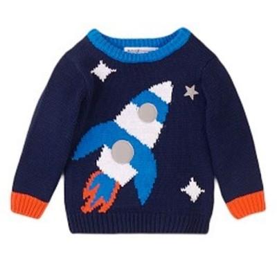 Πουλόβερ αγοριού μπλε πολυ ζεστό /σχέδιο space της εταιρίας Μinoti Beam5