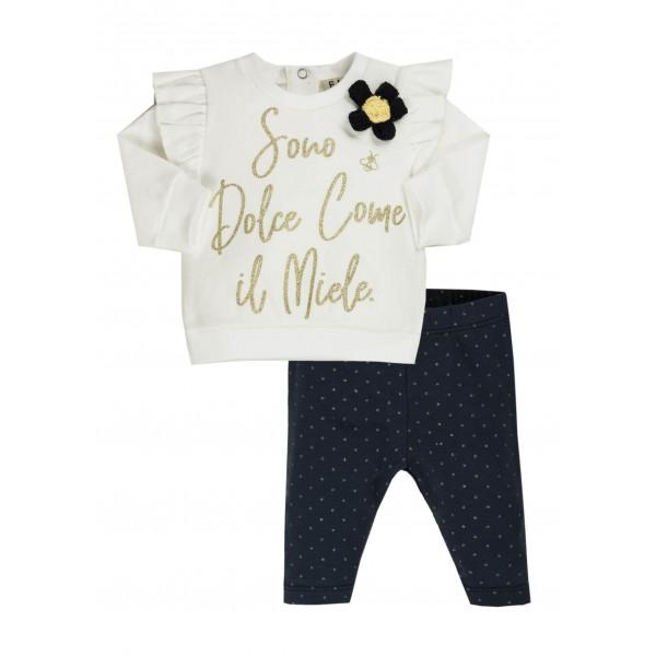 Σετ κοριτσιού κολάν & μπλουζάκι σχέδιο λουλούδι EMC  CO2879144009