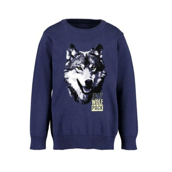 Μπλούζα αγοριού  μπλέ με λεπτομέρεια λύκο BLUE SEVEN 869067
