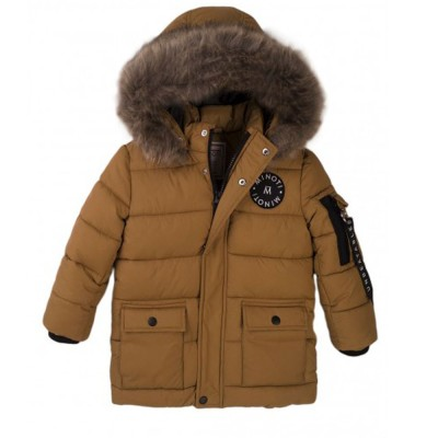 Μπουφάν -παρκά χρώμα λαδί αγοριού με γούνα πολυ ζεστό της εταιρίας Μinoti  Scandi 9
