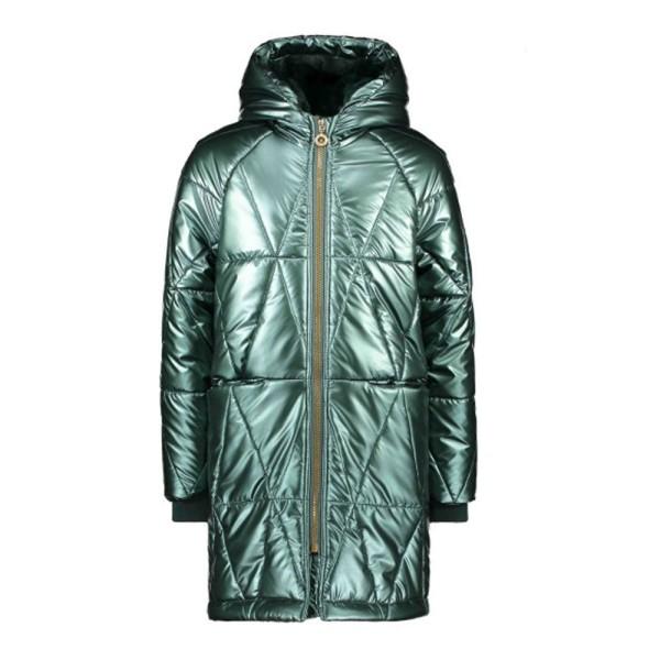 Μπουφάν κοριτσιού σε πράσινο μεταλλικό χρώμα με επένδυση γούνα με κουκούλα της εταιρίας B.NOSY  Y107-5212_372