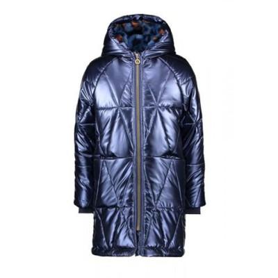 Μπουφάν κοριτσιού σε μπλε μεταλλικό χρώμα με επένδυση γούνα με κουκούλα της εταιρίας B.NOSY  Y107-5212_146