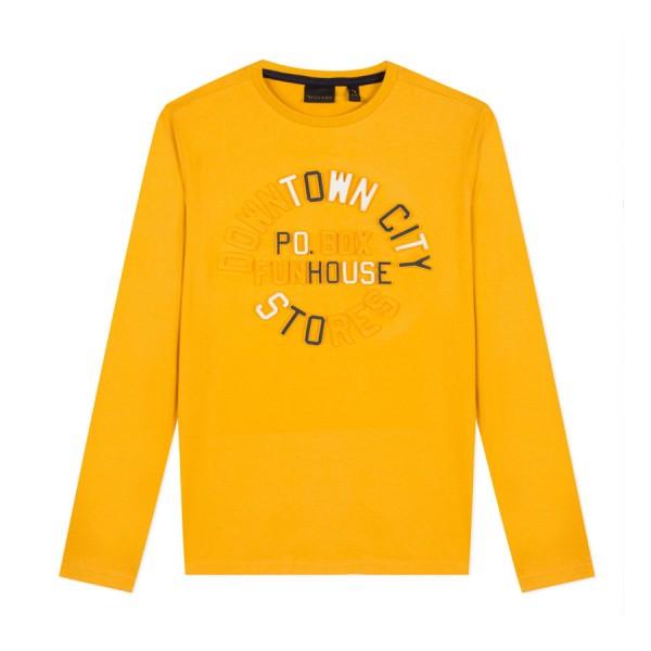 Μπλούζα κίτρινη μακό με τύπωμα ανάγλυφο μαύρα γράμματα μακρύ μανίκι αγόρι bkcaro