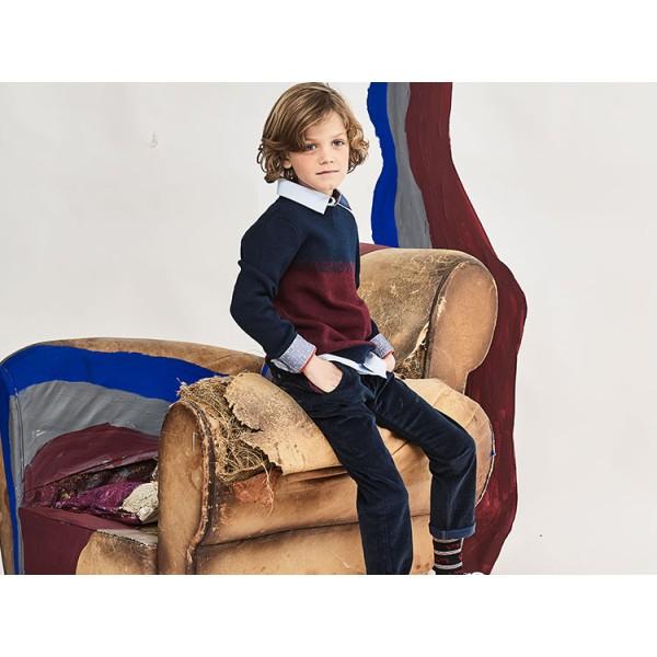 Πουλόβερ μπλε μπορντό πλεκτό μακρύ μανίκι αγόρι jean bourget