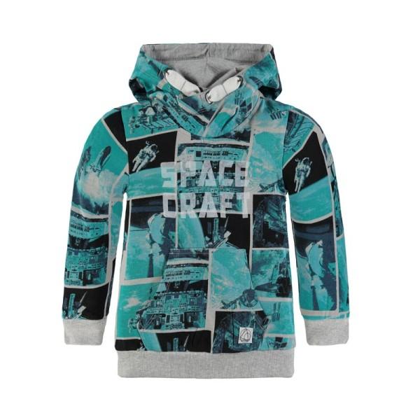 Μπλούζα φούτερ αγοριού με κουκούλα γαλάζια με σχέδια Kanz