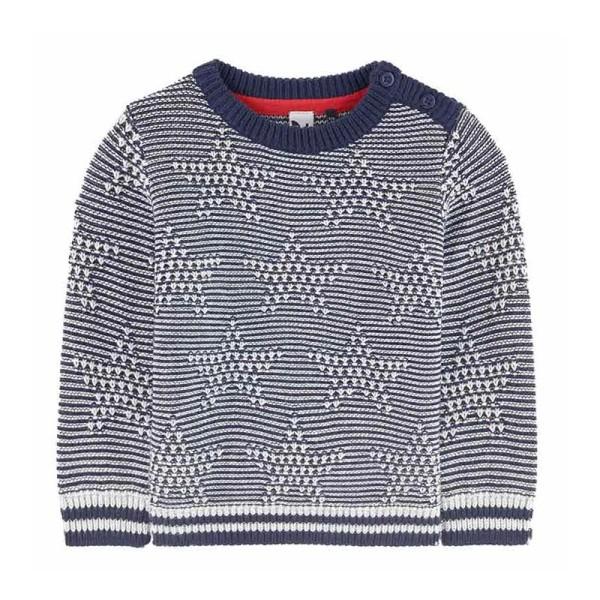 Μπλούζα πουλόβερ αγοριού μπλέ-λευκό με σχέδιο αστέρια 3Pommes
