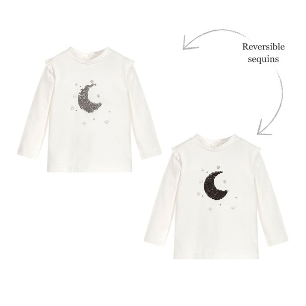 Μπλούζα μακρυμάνικη κοριτσιού λευκή με σχέδιο φεγγάρι στο στήθος 3Pommes