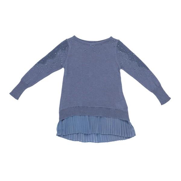 Μπλούζα κοριτσιού μπλέ με στράς και σχέδιο Artigli