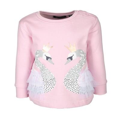 Μπλούζα φούτερ ροζ πούδρα με τύπωμα μακρύ μανίκι κορίτσι blue seven