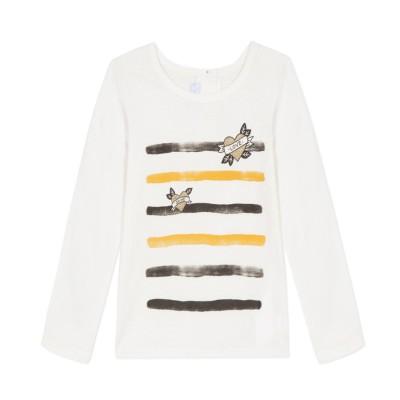 Μπλούζα μακό με στάμπα κορίτσι λευκό κίτρινο absorba