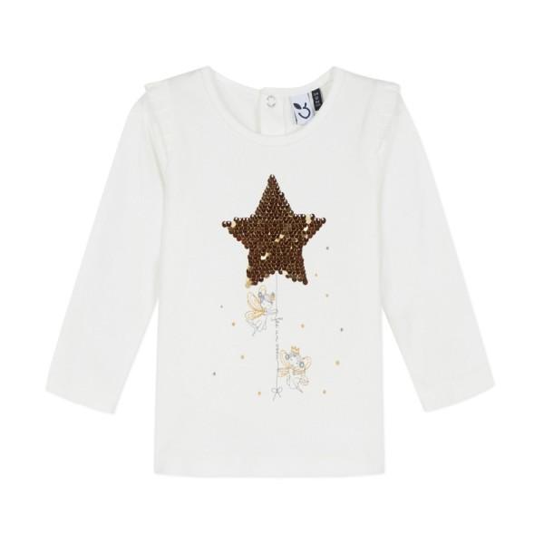 Μπλούζα μακό εκ ρου σχέδιο χρυσό ασημή  αστέρι που αλλάζει μακρύ μανίκι κορίτσι 3pommes