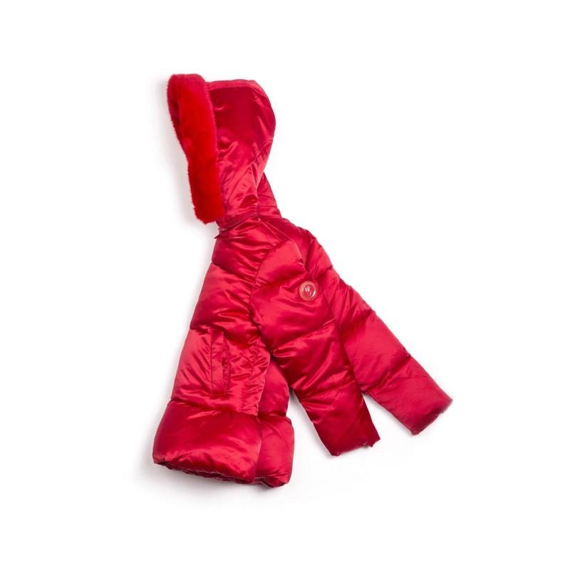 Μπουφάν κοριτσιού σε κόκκινο χρώμα με τσέπες στο μπροστινό μέρος,κλείνει με φερμουάρ,διαθέτει γούνινη κουκούλα της εταιρίας  Coconudina