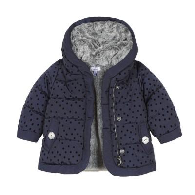 Μπουφάν για κορίτσια πολύ ζεστό σε υπέροχο μπλε χρώμα (πουα λεπτομέρεια ) με επένδυση γούνα γκρι στο εσωτερικό του με φερμουάρ που κλείνει της εταιρίας Absorba
