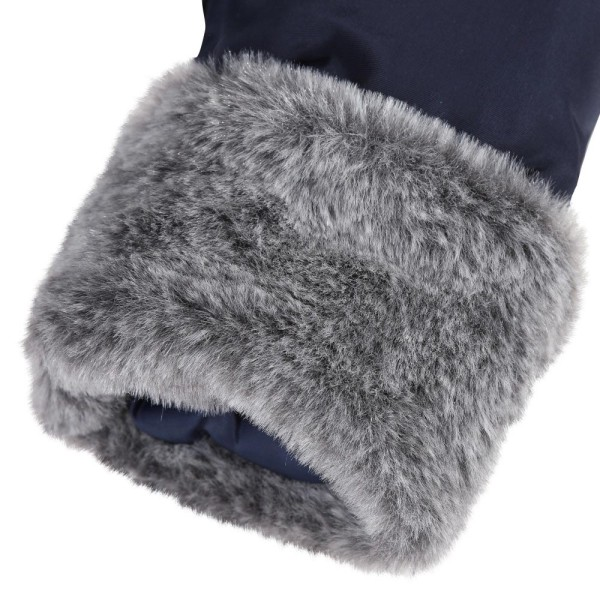 Μπουφάν κοριτσιού σε μπλε σκούρο χρώμα με επένδυση γκρι γούνα με λεπτομέρειες στα μανίκια και την κουκούλα της εταιρίας Absorba