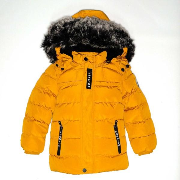 Μπουφάν μουσταρδί με επένδυση γούνα με κουκούλα φερμουάρ πολύ ζεστο Lotitop