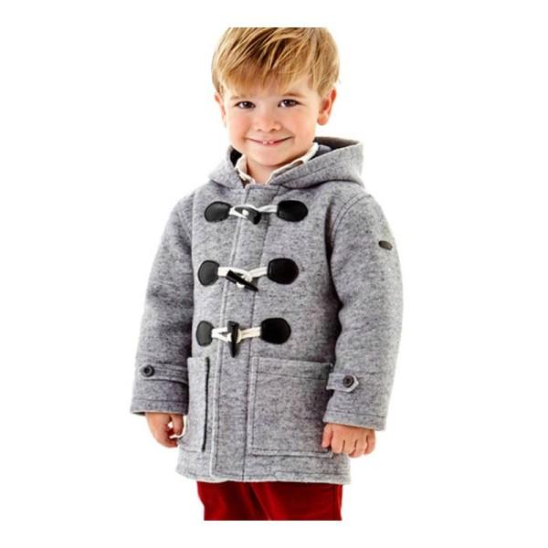 Παλτό αγοριού γκρί με τσέπες και κουκούλα Ido