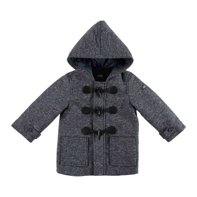 Παλτό αγοριού σκούρο γκρί με τσέπες και κουκούλα Ido