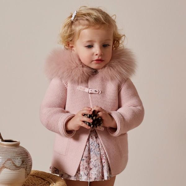 Ζακέτα μπουφάν ροζ φυσική γούνα με κουκούλα   μακρύ μανίκι πολύ ζεστο Martin Aranda