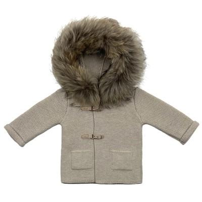 Ζακέτα μπουφάν μπεζ με κουκούλα γούνα  μακρύ μανίκι πολύ ζεστο Martin Aranda
