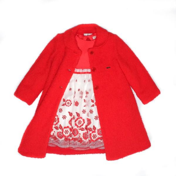 Παλτό κόκκινο με κουμπιά γιακά πολύ ζεστό κορίτσι petit