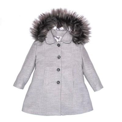 Παλτό γρι με κουκούλα και γούνα  κουμπιά πολύ κόψω κορίτσι piccoli gia grandi