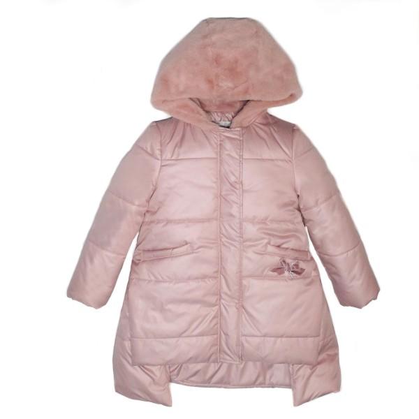 Μπουφάν ροζ απαλό με κουκούλα γούνα πολύ ζεστό υψηλής ραπτικής με φερμουάρ κορίτσι petit
