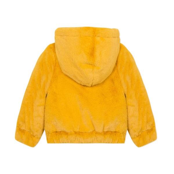 Μπουφάν γούνα διπλής όψης κίτρινο μαύρο κορίτσι