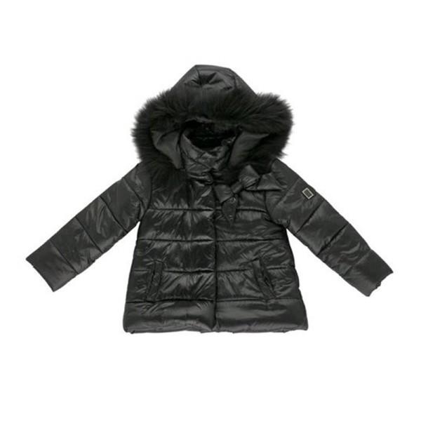 Μπουφάν κοριτσιού μαύρο με τσέπες και γούνα στην κουκούλα Artigli