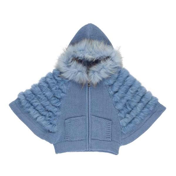 Μπουφάν κοριτσιού πλεκτό μπλέ με τσέπες και γούνα στην κουκούλα Artigli