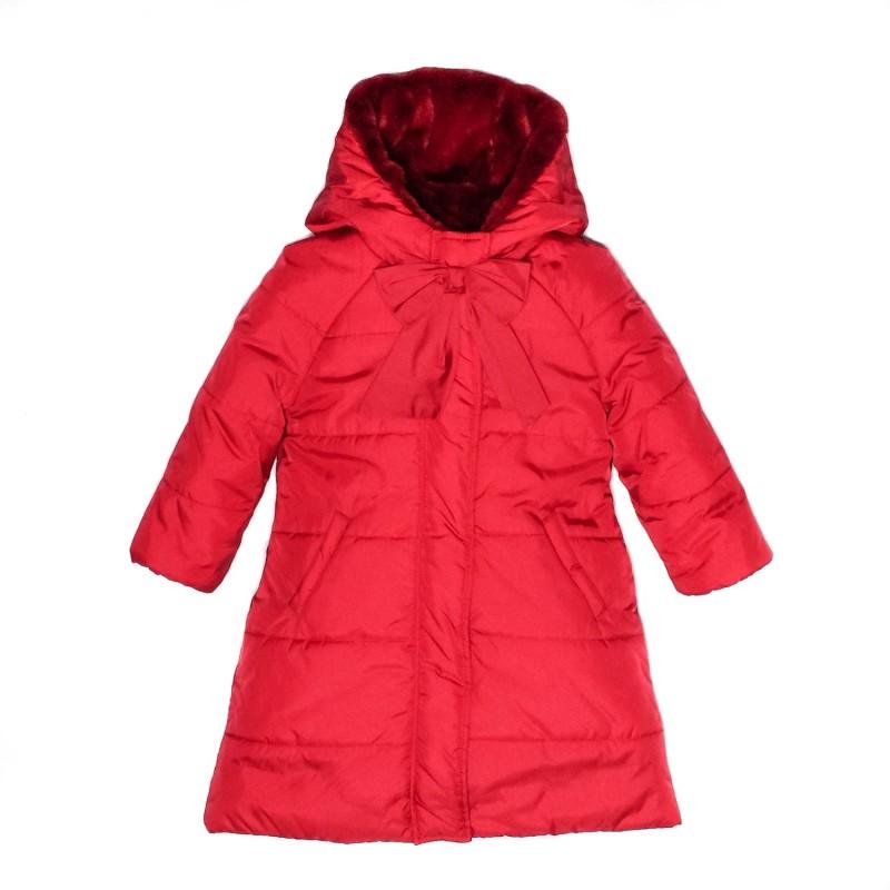 Μπουφάν κόκκινο με κουκούλα και γούνα φερμουάρ φιόγκο κορίτσι petit
