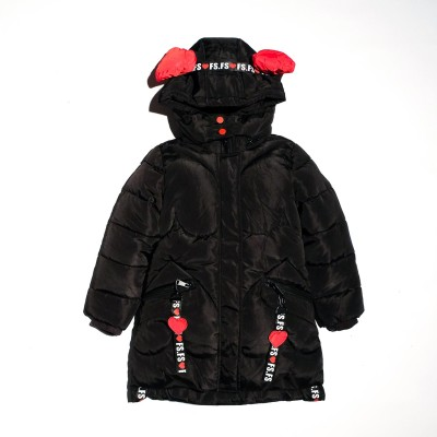 Μπουφάν μαύρο με κουκούλα και γούνα εσωτερικά κορίτσι Lolitop