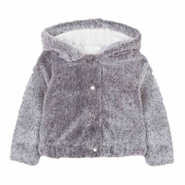 Παλτό κοριτσιού γκρί γούνα με κουκούλα Absorba
