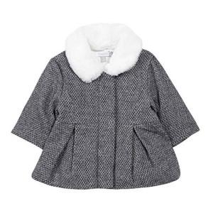 Παλτό κοριτσιού γκρί πλεκτό με άσπρο γούνινο γιακά Absorba